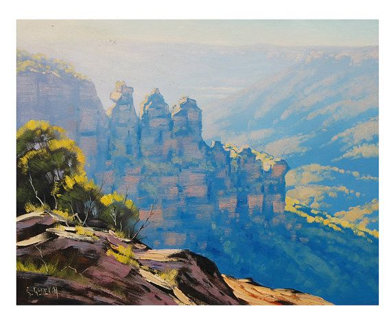 THREE SISTERS Blue Mountains Australian PAINTING Landscape Impressionist Art by Graham Gercken