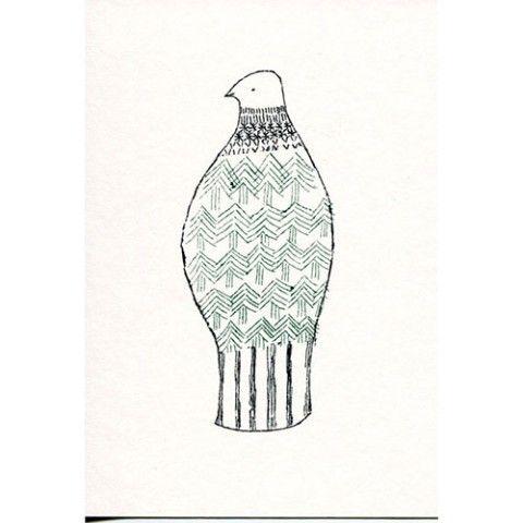 【絵と木工のトリノコ】森のような鳥-ガリ版ポストカード
