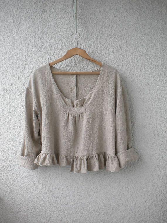 Loose linen top ruffle linen shirt linen blouse long sleeve ruffle linen jacket…