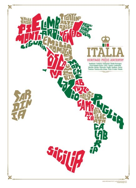 metalboxdesign — Italy Region Map Silkscreened Poster: 3 Color