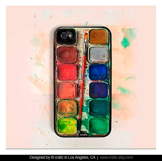 I don't even have an iPhone but I want this case!  iPhone 4 case iPhone 4s case - Watercolor Set iPhone Hard Case. $19.99, via Etsy.