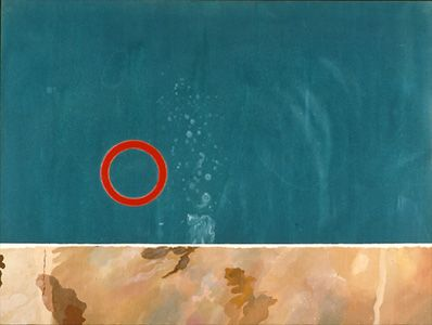 DAVID HOCKNEY: PAINTINGS.  Rubber Ring Floating In a Swimming Pool, 1971  acrylic on canvas, 36x48 in.