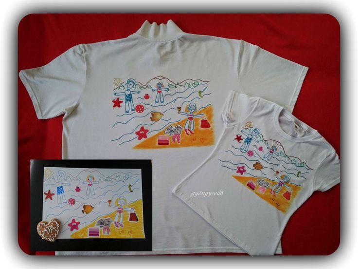 6 éves kislány rajza alapján, kézzel festett póló! Apukának és kicsi lányának
