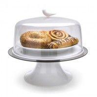 Sparrow Cake Tray wit Een prachtige afsluitbare schaal om allerlei lekkere hapjes mee te serveren. Ideaal voor gebak, muffins, koekjes enzo. Er zit een extra plateau op wat gevuld kan worden met water om ervoor te zorgen dat ook de mieren geen kans krijgen om bij het eten te komen. Afmetingen: circa Ø 295 x H 300 mm Materiaal: PC+ABS+PP