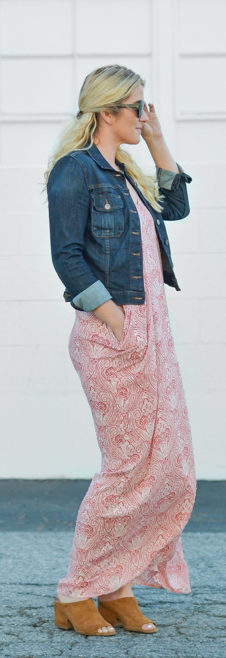 Ease into summer with this casual maxi dress outfit easily dressed up on down with flats, wedges, or mules and topped with your favorite denim jacket!