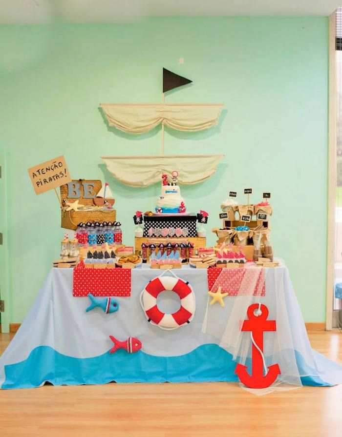 Pirate themed birthday party via Kara's Party Ideas | Cake, decor, recipes, favors, printables, games, and MORE! #pirates #pirateparty #treasurechest #partyplanning #partystyling (39) | Kara's Party Ideas