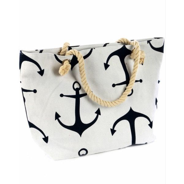 Anchor Beach Bag Summer Beach Bag Nautical Bag Summer Bag ($45) ❤ liked on Polyvore featuring bags, handbags, tote bags, blue, t-shirts, tops, women's clothing, white tote, striped beach tote and blue tote bag
