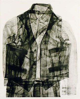 Betty Goodwin, soft ground etching, Goodwin is recognized for her series of vests, which she cut, folded and stacked to elude to images from the Holocaust of the dead and buried bodies. Goodwin's vests appear to be floating in space, as if worn by a ghostly figure.