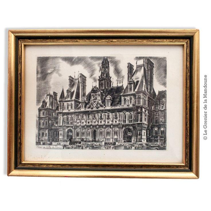 """Gravure Eau forte """"HÔTEL DE VILLE DE PARIS """" Burin original de DECARIS. Bon état. Dimensions :  Cadre 27 cm x 21 cm / Gravure 19 cm x 13, 5 cm. Albert Decaris Albert Marius-Hippolyte Decaris, né le 6 mai 1901 à Sotteville-lès-Rouen et mort le 1ᵉʳ janvier 1988 à Paris, est un peintre, décorateur et graveur français. Wikipédia  50,00 €  http://legrenierdelamandoune.com/estampes-gravures-lithos/861-gravure-eau-forte-hotel-de-ville-de-paris-burin-original-de-decaris.html  Le Grenier de la…"""