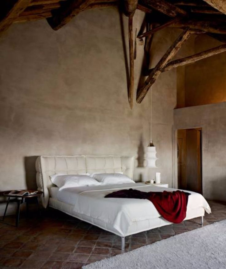 The bedroom designs featuring the Husk bed by BB Italia, the first with a black and white background, in the middle photo with a wood wall and in the bottom in a more rustic setting.Contemporary black white grey master bedroom inspiration ideas modern bedroom design 3
