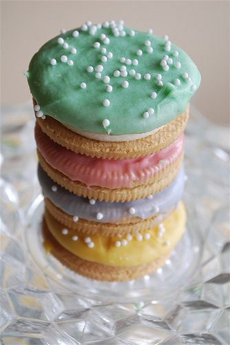 Easter Oreos:  Dip in white chocolate w/food coloring and add pretty white sprinkles - easy!