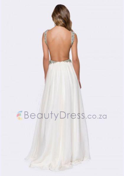 Floor-length Ivory Chiffon A-line backless evening dress with V-neck - 8a60197 - Prom Dresses