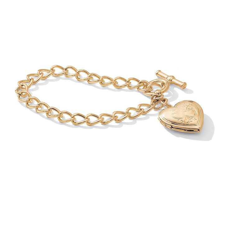 "Palm Beach Jewelry PalmBeach Heart Locket Bracelet in Gold Tone 8"" Tailored"