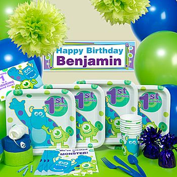 These adorable 1st Birthday Monsters Inc Party Supplies feature Mike and Sully with green and purple accents.