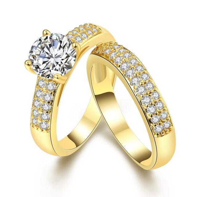 Продвижение низкая цена Высокого Качества Новая Мода элегантный циркон двойные кольца позолоченные Циркон кольцо для Свадебных Украшений
