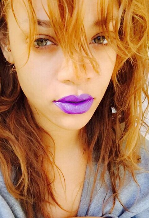 Obsessed with RiRi's purple lips from Coachella