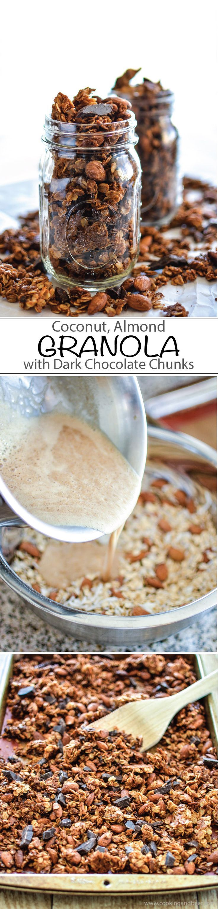 Homemade Coconut Almond Granola with Dark Chocolate Chunks Recipe for breakfast, lunch, dinner or snack!   http://www.cookingandbeer.com