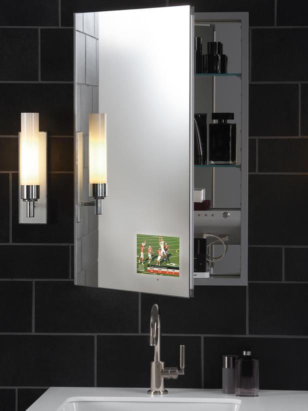 a tv in the bathroom mirror love hot trends in bathroom fixtures
