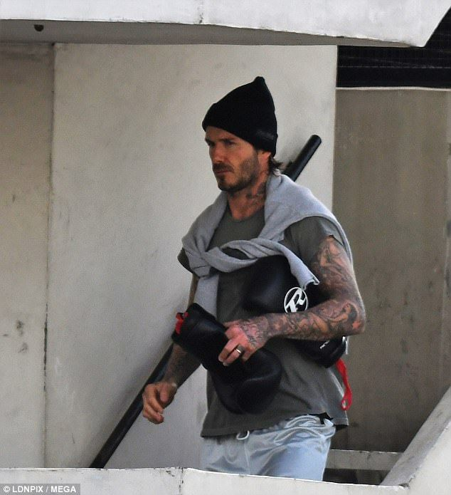 The gloves are OFF! David Beckham left the gym after an energetic boxing session on Wednesday, in which he worked up quite a sweat
