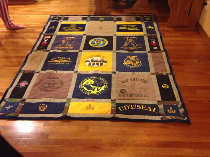 Navy EOD shirt quilt. Some of the shirts and uniforms from my husbands Navy career. It turned out amazing!