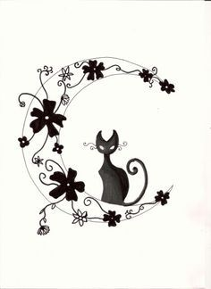 Moon & flowers with black kitty cat tattoo design