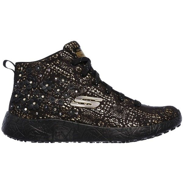 Skechers Women's Burst - Seeing Stars Black - Skechers ($75) ❤ liked on Polyvore featuring shoes, sneakers, black hi tops, black hi top sneakers, skechers sneakers, high-top sneakers and skechers shoes