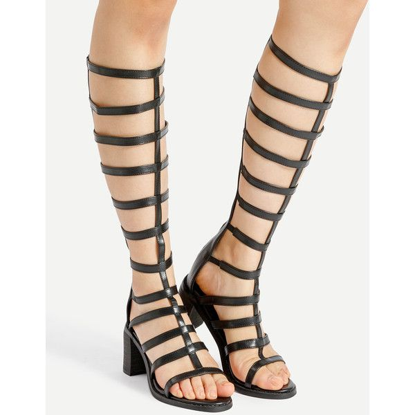 Caged Design Block Heeled Knee High Sandals (€41) ❤ liked on Polyvore featuring shoes, sandals, peep toe flats, peep toe platform sandals, peep toe block heel sandals, cage sandals and flats sandals