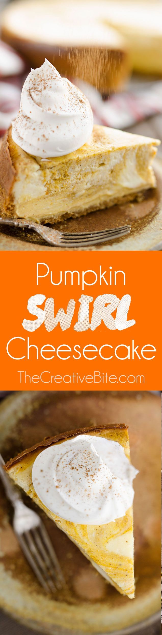Pumpkin Swirl Cheesecake is a rich and delicious recipe perfect for the holidays! A thick New York style cheesecake is swirled with a sweet pumpkin mixture in a pecan crust for a festive twist on a classic dessert. #Pumpkin #Cheesecake #Dessert