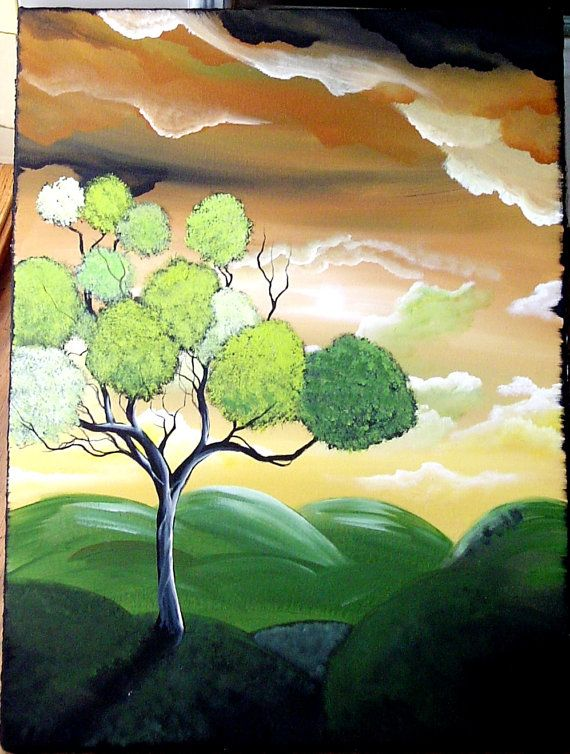 Original landscape abstract art tree painting ThE HYDRANGEA TREE18 x 24 in angiec free us and canada shipping 18 x 24 in. $105.00, via Etsy.