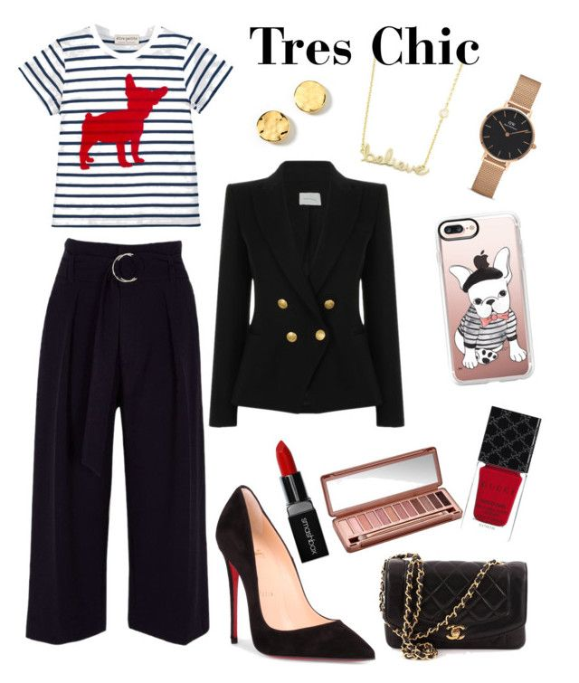 """""""Tres Chic"""" by amanda-barrett on Polyvore featuring Sydney Evan, Kenneth Cole, Être Cécile, River Island, Christian Louboutin, Chanel, Pierre Balmain, Smashbox, Gucci and Casetify"""
