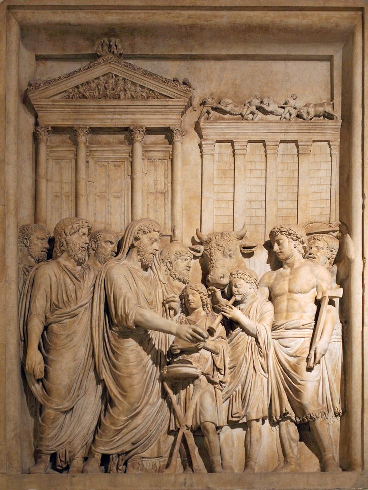 After defeating Germanic invaders, Marcus Aurelius and his family perform a sacrifice to the gods in front of the temple of Jupiter on the Capitoline. Relief originally from the Arch of Marcus Aurelius, Rome; now in the Capitoline Museum. Circa 176-182. Artist: Art from the Ancient Rome.