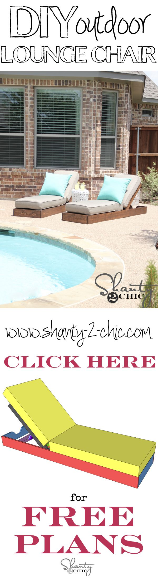 Build your own custom outdoor lounge chairs with free plans from shanty-2-chic.com