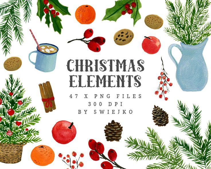 Navidad acuarela elementos Digital Imágenes Prediseñadas