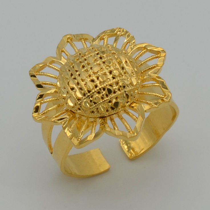 Flower Ring for Women Gold Plated Jewelry Beautiful Ring,Surprise Gift,Ethiopian Jewellry Ring Africa/Arab Ethiopia Girl #052206