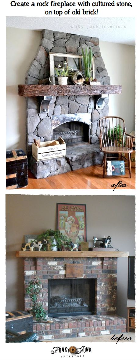 Create a rock fireplace with cultured stone, on top of old brick, via http://www.funkyjunkinteriors.net/