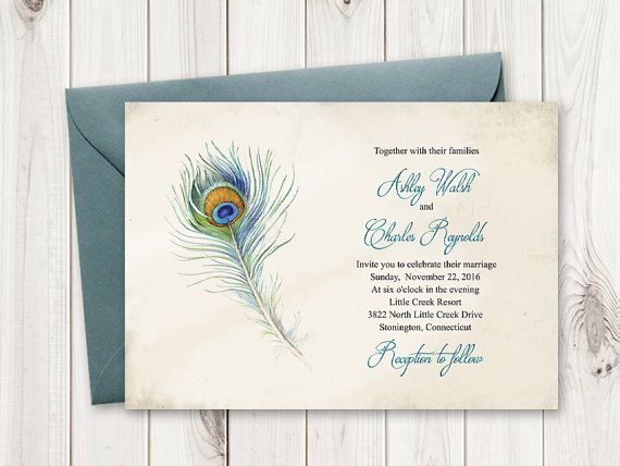 Best Boho Wedding Invitation Templates Peacock Feather Images