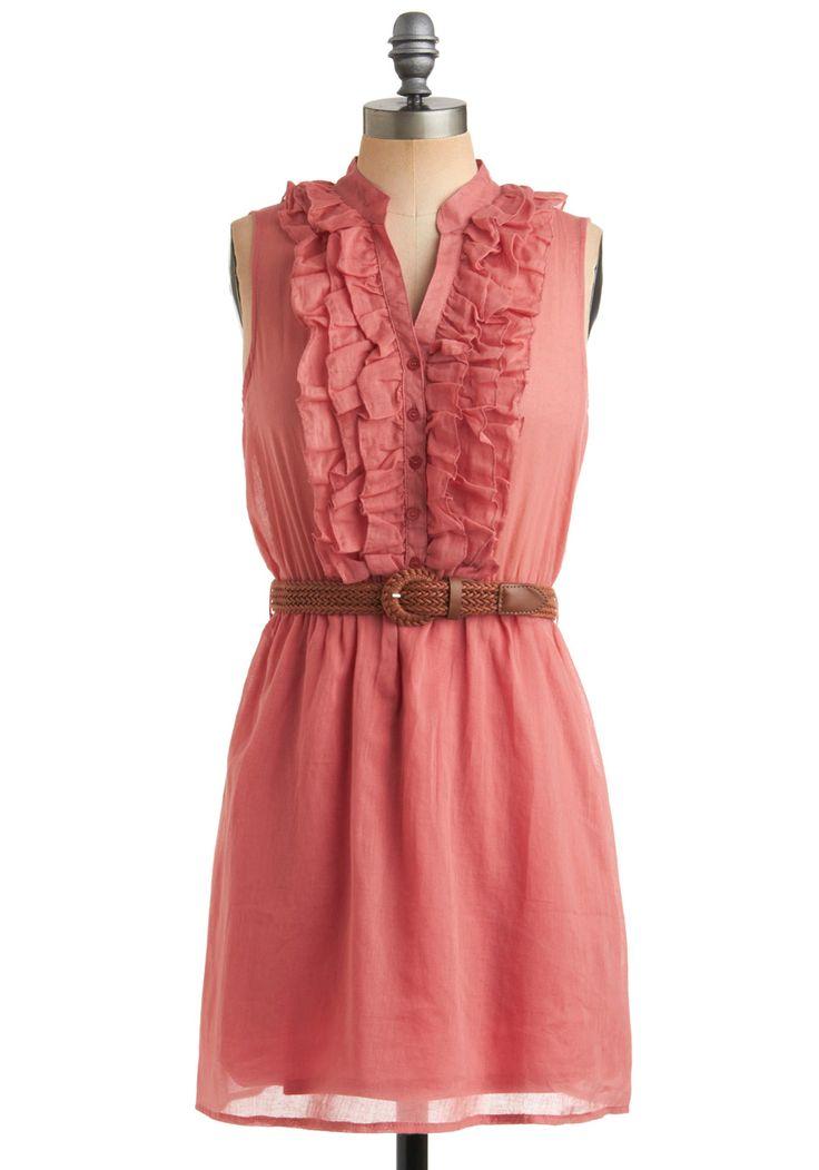 Next Weekend Dress - Pink, Solid, Buckles, Buttons, Ruffles, Woven, Casual, Sheath / Shift, Sleeveless, Spring, Summer, Short