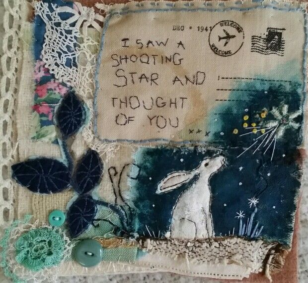 Textile art mixed media. Hare and stars by Emily Henson…