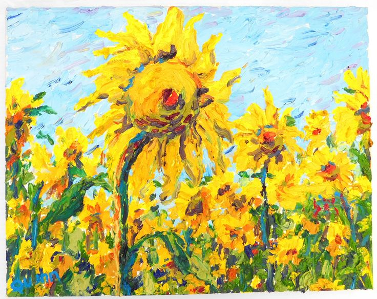Colby Farm Sunflowers. Oil on canvas. See more at www.ronquinn.com