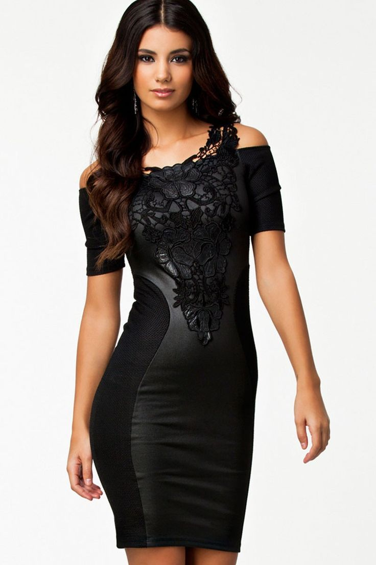 Women Black Leather Pu Patchwork Embroidery Intimate Short Sleeve Mini Dress Club Dresses