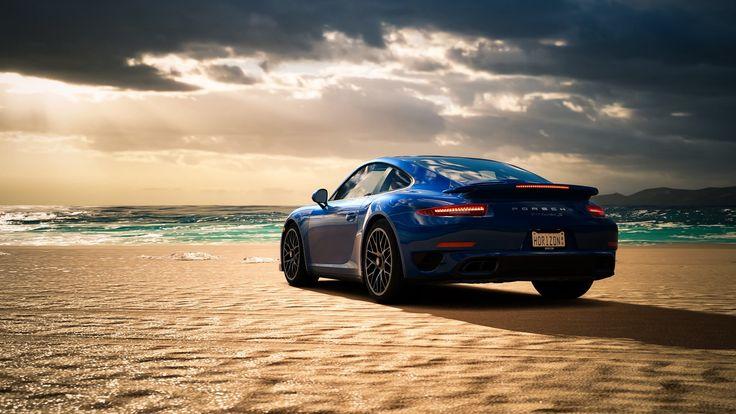 Hd Wallpaper Sea Beach Blue Porsche 911 Turbo S