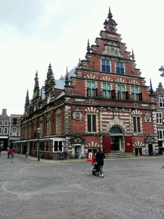 Vleeshal in Haarlem, building completed in 1603?  Vleeshal means meat hall and it was used to sell meat until 1840.  It's now used as a gallery by the Frans Hals museum.