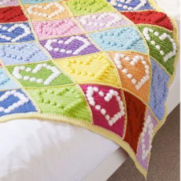 bobble heart blanket crochet pattern