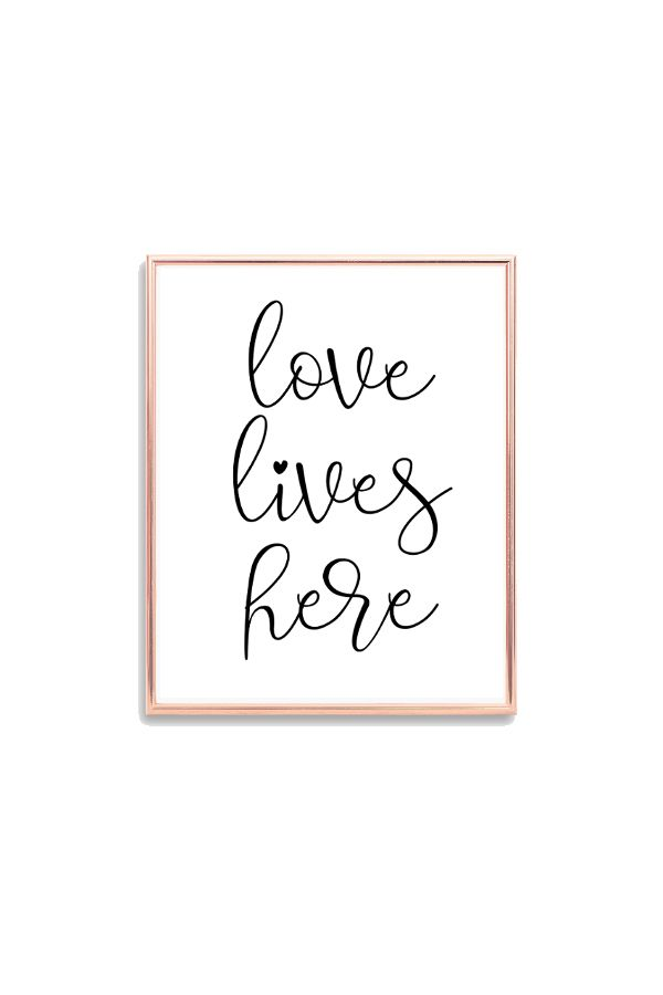 Love lives here printable quote, Whimsical font love quote ...