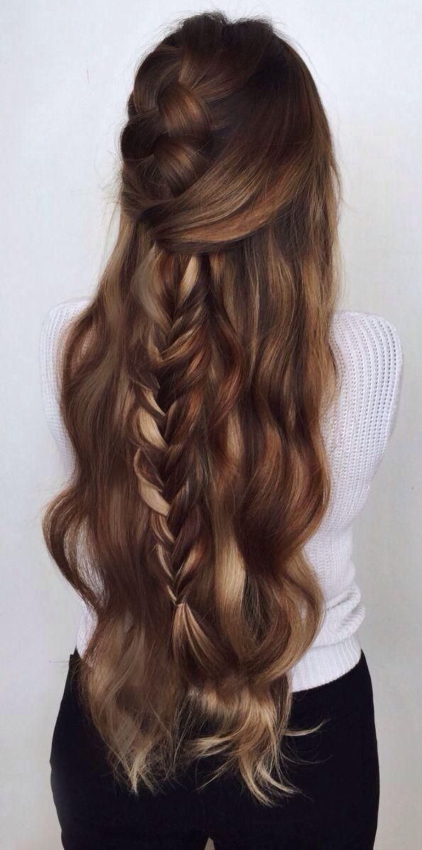 Balayage wavy half up braid #gorgeoushair I ABSOLUTELY LOVE how long this hairst... - #absolutely #balayage #braid #gorg -