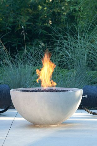 PREVIEW MODE: Patio fire pits in concrete cone outdoor fire bowls.