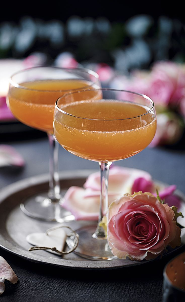 Valentine's Day cocktail with a blend of rosé Champagne, passion fruit and orange liqueur.