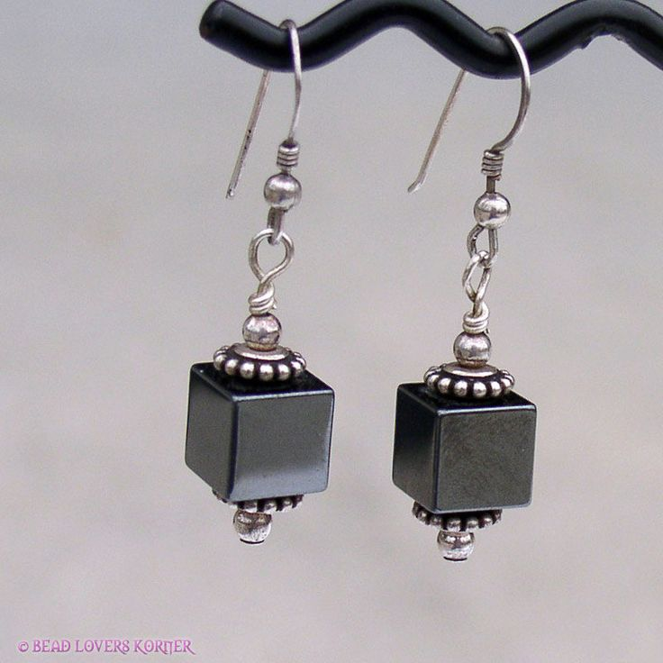 Hematitie Cube Dangle Earrings by beadloverskorner on Etsy