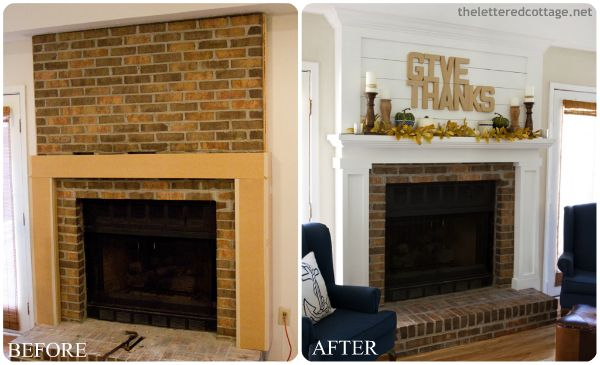 DIY Fireplace Makeovers, Faux Mantels Awesome before and afters for updating a brick fireplace!