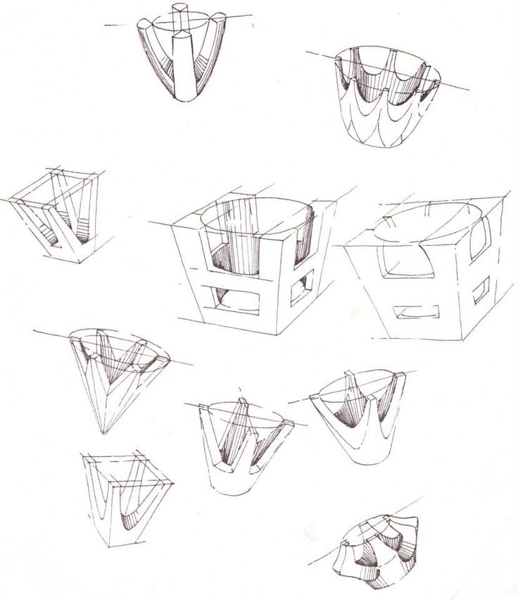 Pen sketches of setting styles for jewellery by Hamish Bowie.